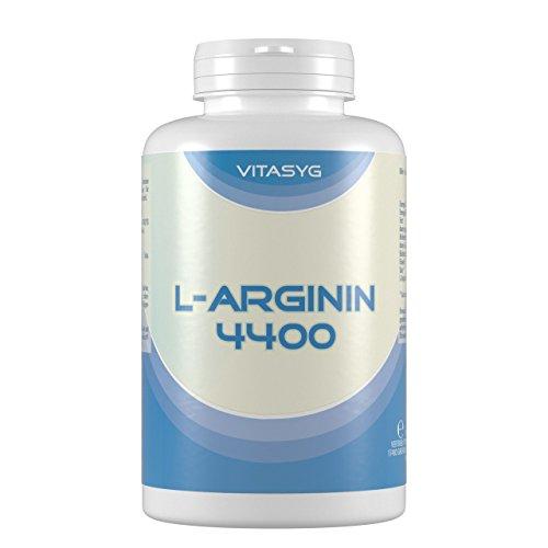 L-Arginin 4400 – 120 L-Arginin Kapseln hochdosiert mit 4400mg L-Arginin HCL pro Tagesdosis – Made in Germany