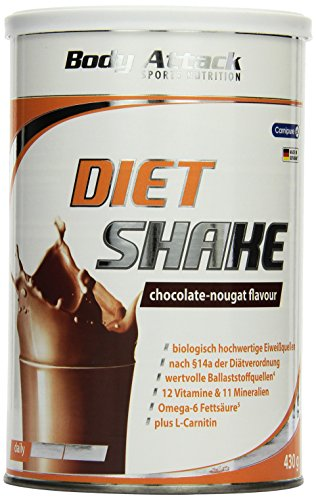 Body Attack Diet Shake, Chocolate Nougat, 1er Pack (1x 430g)