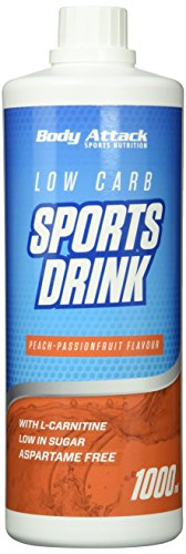 Body Attack Low Carb Sports Drink, Pfirsich-Maracuja, 1er Pack (1x 1000ml)