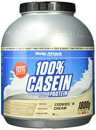 Body Attack 100% Casein Protein Cookies & Cream, 1er Pack (1 x 1.8 kg)