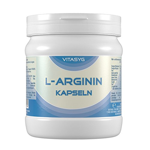 Vitasyg L-Arginin Kapseln – 450 Kapseln – hochdosiert mit 4000MG reinem L-Arginin pro Tagesdosis – Made in Germany – XXL Dose – Arginin aus pflanzlicher Fermentierung 1er Pack (1 x 270 g)