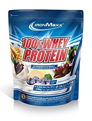 IronMaxx 100% Whey Protein Pulver / Eiweißpulver Schokolade-Minze für Proteinshake / Whey Protein mit Schokolade-Minze Geschmack / 2,35 kg Beutel