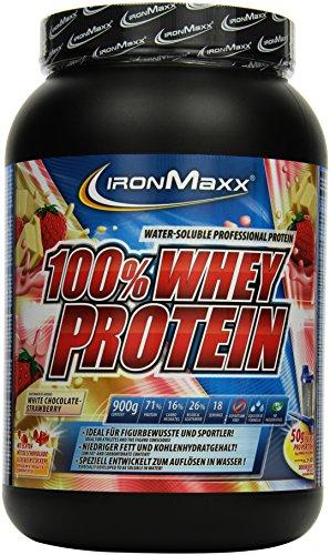 IronMaxx 100% Whey Protein / Whey Proteinpulver auf Wasserbasis / Eiweiß Pulver mit Erdbeere-Weiße Schokolade Geschmack / 1 x 900 g Dose