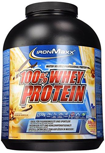 IronMaxx 100% Whey Proteinpulver / Vanille Eiweißpulver Whey für Proteinshake / Wasserlösliches Proteinpulver mit French Vanilla Geschmack / 1 x 2,35 kg Dose