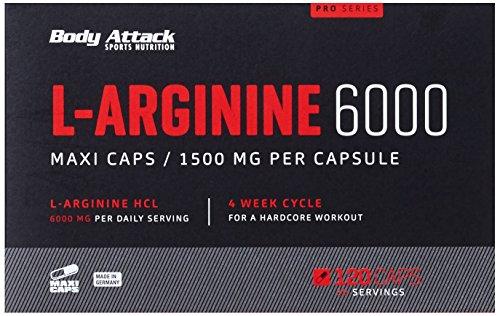 Body Attack L-Arginine 6000, 120 Kapseln, 1er Pack (1 x 201 g)
