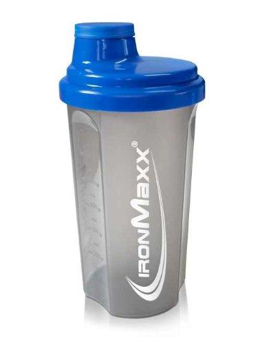 IronMaxx Eiweiß Shaker mit Drehverschluss, Sieb und Mess-Skala / 700ml Fitness Shaker für klumpenfreie Shakes / Leicht zu reinigen / Protein Shaker in Blau/Grau