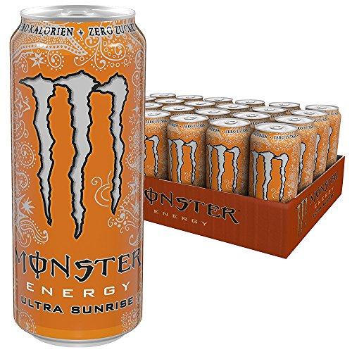Monster Energy Flavour Ultra Sunrise mit erfrischendem, süßem Geschmack – ohne Zucker & mit wenig Kalorien / Energy Drink Palette mit 24 x 500ml Dosen