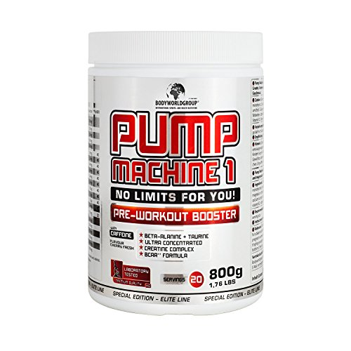 BWG Pump Machine 1, Pre Workout Booster (mit Koffein), Special Edition – Elite Line (mit Dosierlöffel) Cherry Fresh Geschmack – 800g Dose