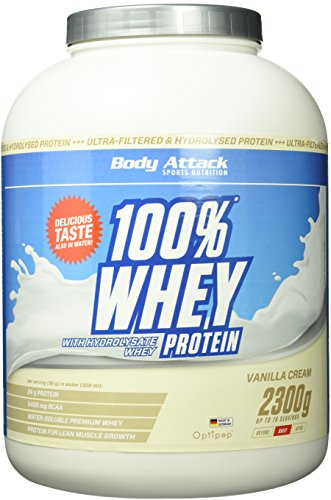 Body Attack 100% Whey Protein, Vanille, 1er Pack (1x 2300g)
