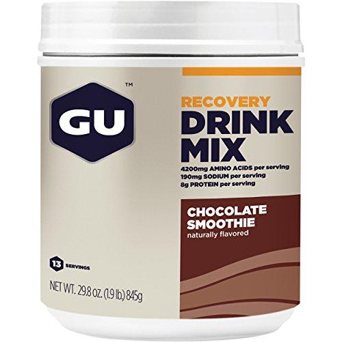 GU Recovery Drink Mix, Chocolate Smoothie (Schokolade) – Kohlenhydrat-Protein-Getränkepulve, 750 g Dose