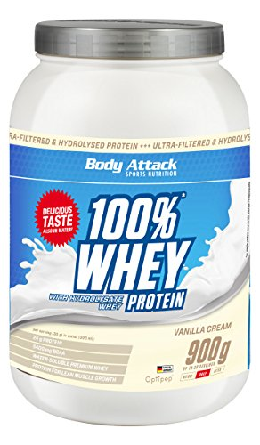 Body Attack 100% Whey Protein, Vanille, 1er Pack (1x 900g)