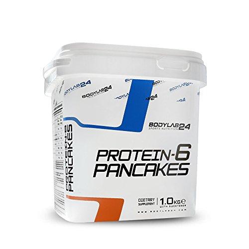 Bodylab24 Protein Pancake Mix, Geschmack: Sweet Vanilla,  Low Carb Backmischung, Eiweiß Pfannkuchen, Mixen, Backen & Genießen, wenig Fett, viel Protein, 1000g Box.