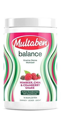 Multaben Diät Shake, proteinreicher Abnehm-Shake für eine Eiweiß-Diät, Raspberry-Cranberry-Chia, 430 g