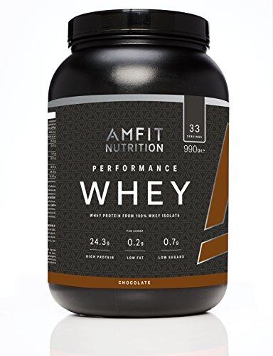 Amazon-Marke: Amfit Nutrition Performance Whey Protein Eiweißpulver (100% Molkenisolate) mit Schokogeschmack, 33 Portionen, 990 g