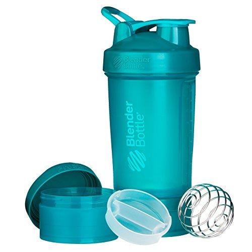 BlenderBottle Prostak Protein Shaker / Diät Shaker  (650ml, skaliert bis 450ml, mit 2 Container 150ml & 100ml, 1 Pillenfach) Teal