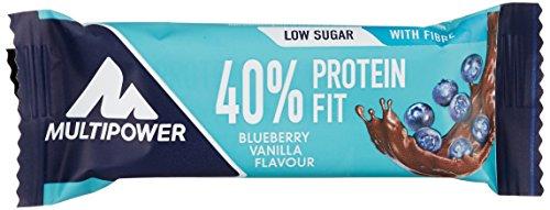 Multipower 40% Protein Fit – 24 x 35 g Eiweißriegel Box – Blaubeer Vanille – Fitnessriegel mit 40% hochwertigem Milchprotein – 14 g Eiweiß pro Proteinriegel