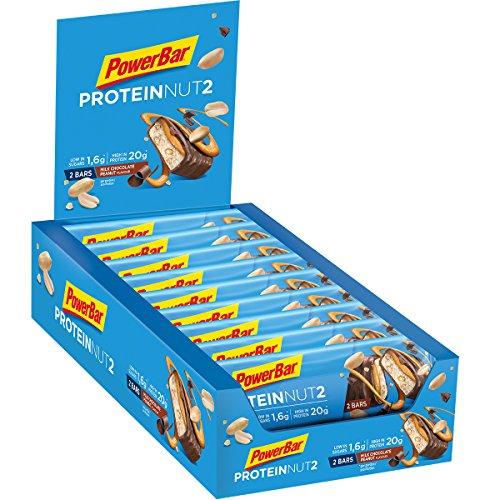 Powerbar Protein Riegel ProteinNut2 Eiweiß-Riegel (Kohlenhydratreduziert, kaum Zucker, mit Erdnüssen) Milk Chocolate Peanut, 18 x 60g