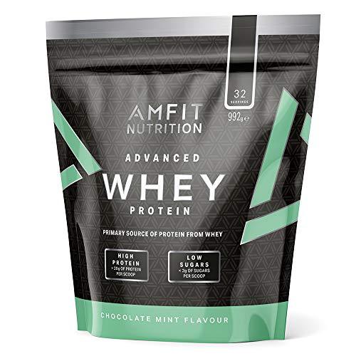 Amazon-Marke: Amfit Nutrition Advanced Whey Protein Eiweißpulver mit Schoko-Minzegeschmack, 32 Portionen, 992 g