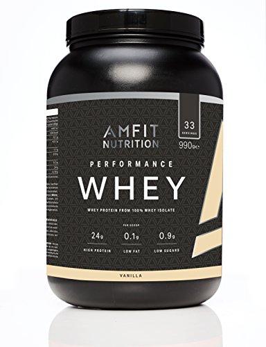 Amazon-Marke: Amfit Nutrition Performance Whey Protein Eiweißpulver (100% Molkenisolate) mit Vanillegeschmack, 33 Portionen, 990 g