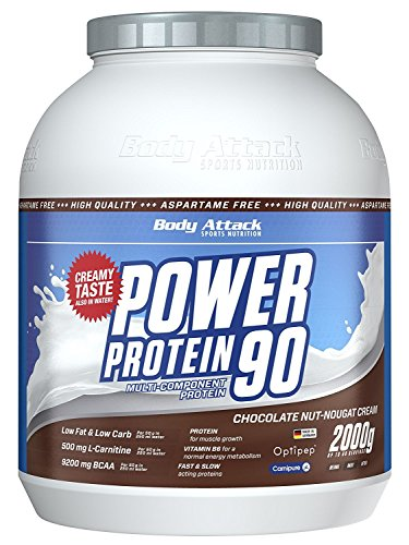 Body Attack Power Protein 90, Chocolate Nut Nougat Cream, 1er Pack (1 x 2 kg)