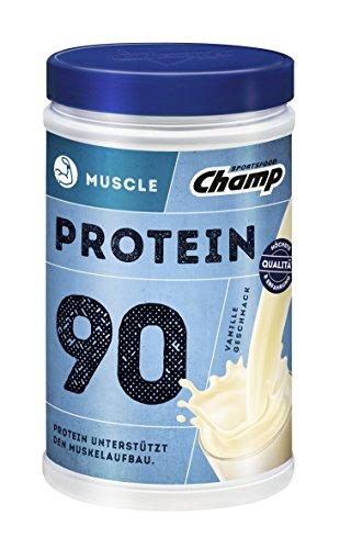Champ Muscle Protein 90 Eiweißshake (390 g) – Protein Shake mit Vanille-Geschmack – Eiweißpulver mit 36 g Protein pro Portion – enthält Vitamine – ohne Aspartam