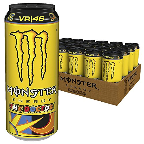 Monster Energy Flavour The Doctor - Valentino Rossi Special Edition mit prickelndem Zitrusgeschmack / Energy Drink Palette mit 24 x 500 ml Dose