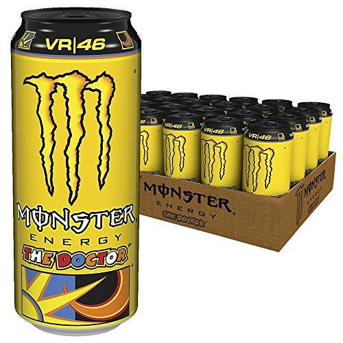 Monster Energy Flavour The Doctor – Valentino Rossi Special Edition mit prickelndem Zitrusgeschmack / Energy Drink Palette mit 24 x 500 ml Dose