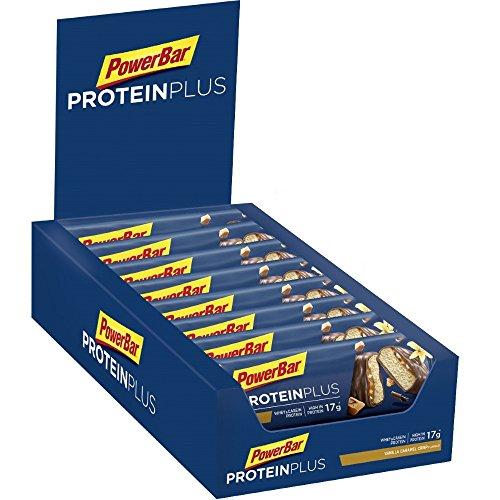 PowerBar Protein Riegel mit Casein, Whey und Sojaprotein – Eiweiß-Riegel, Fitness-Riegel reich an Ballaststoffen – Vanilla-Caramel-Crisp (15 x 55g)