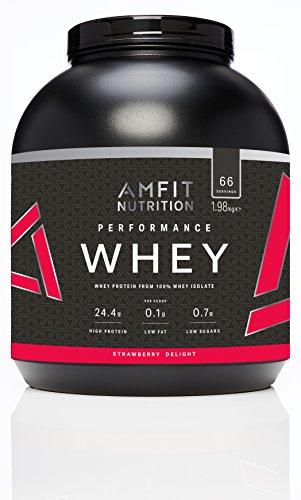 Amazon-Marke: Amfit Nutrition Performance Whey Protein Eiweißpulver (100% Molkenisolate) mit Erdbeergeschmack, 66 Portionen, 1980 g