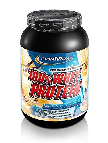 IronMaxx 100% Whey Proteinpulver – Vanille Eiweißpulver Whey für Proteinshake – Wasserlösliches Proteinpulver mit French Vanilla Geschmack – 1 x 900 g Dose