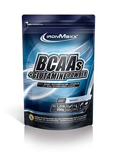 IronMaxx BCAA Pulver + Glutamin Pulver – Hohe Konzentration an Aminosäuren und L-Glutamin – Muskelaufbau und Muskelerhalt – Vitamin B6 – Wenig Kohlenhydrate & Zucker – Mango-Geschmack – 550g