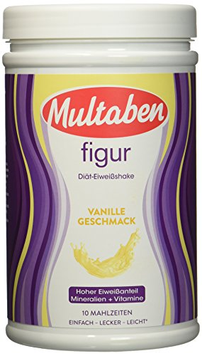 Multaben Diät Shake proteinreicher Abnehm Shake für eine Eiweiß Diät Vanille Geschmack mit Vitaminen und Mineralstoffen, 430 g