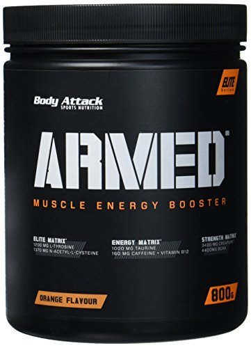 Body Attack Armed ein Muscle Energy Booster mit hochdosierten Wirkstoffen, Orange, 800 g