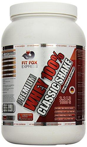 Fit Fox Express Premium Whey 100% Protein (Eiweißshake, Molkenprotein mit Dosierlöffel) Classic Cafe Brazil Cream, 1er Pack (1 x 1 kg), 1000 g Dose