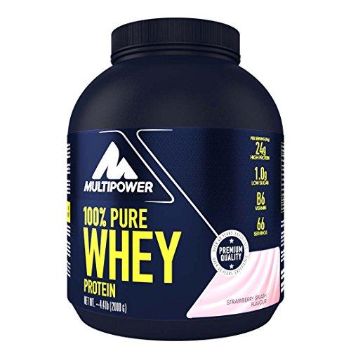 Multipower 100% Pure Whey Protein – wasserlösliches Proteinpulver mit Erdbeer Geschmack – Eiweißpulver mit Whey Isolate als Hauptquelle – Vitamin B6 und hohem BCAA-Anteil – 2 kg