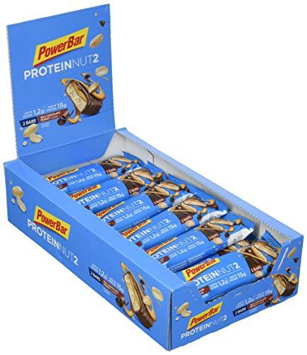 PowerBar ProteinNut2 Protein Riegel Eiweiß-Riegel (Kohlenhydratreduziert, kaum Zucker, mit Erdnüssen) Milk Chocolate Peanut (18 x 45g)