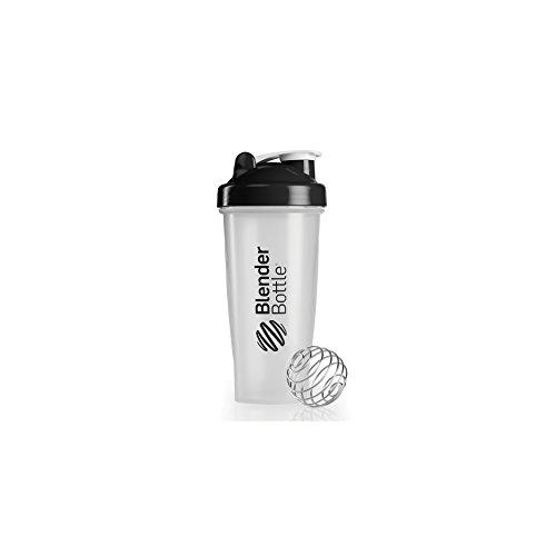 BlenderBottle Classic Shaker / Eiweiß Shaker / Diät Shaker / Protein Shaker mit Blenderball -  Schwarz transparent 820ml Fassungsvermögen, skaliert bis 600 ml