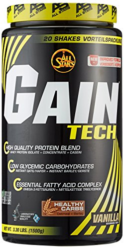 All Stars Gain Tech Weight Gainer, Vanille, 1er Pack (1 x 1.5 kg)