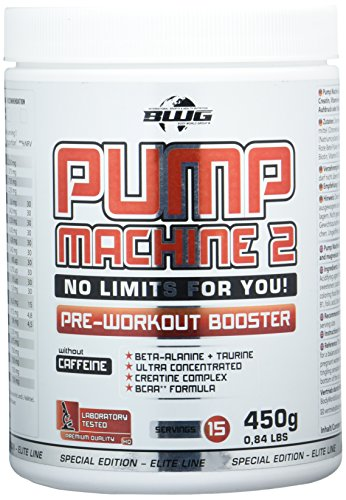 BWG Pump Machine 2, Pre Workout Booster (ohne Koffein), Special Edition – Elite Line (mit Dosierlöffel) Berry Mix Geschmack – 450g Dose