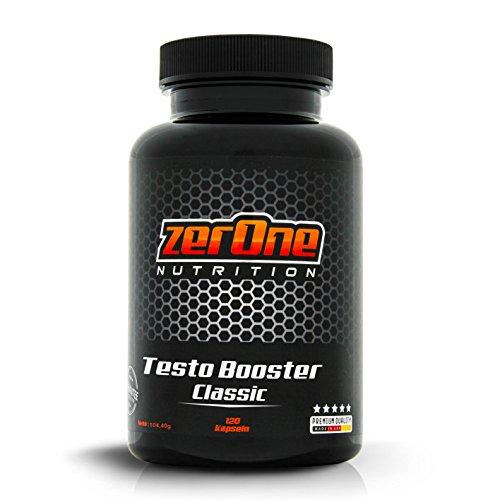 ZerOne Testo-Booster Classic 120 Kapseln, Vitamin E D B3 L-Arginin Maca-Pulver Steigerung der Hormonproduktion Mega Muskelwachstum, Made in Germany