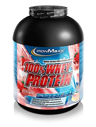IronMaxx 100% Whey Protein – Proteinpulver auf Wasserbasis für Fitness-Shake – Eiweißpulver mit Erdbeer Geschmack – 1 x 2,35 kg Dose
