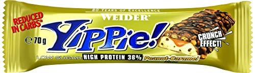 Weider Yippie! 12 x 70g Riegel, Peanut-Caramel | 6 Schokoladenschichten