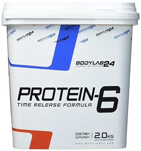 Bodylab24 Protein-6 Geschmack: Vanille,   Mehrkomponenten Protein Shake, 6 hochwertige Eiweißquellen für Muskelaufbau und Diät, 2000g Box