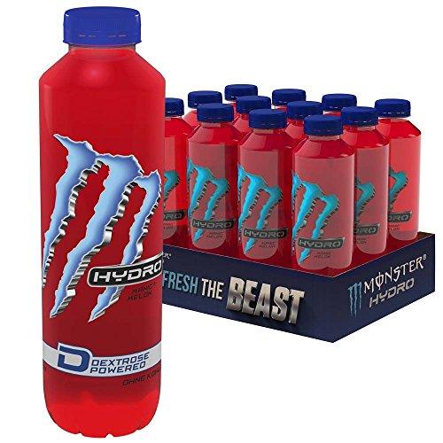Monster Hydro Manic Melon mit Wassermelonengeschmack - ohne Kohlensäure, Energy Drink Palette, EINWEG Flasche (12 x 550 ml)