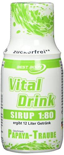 Best Body Nutrition Vital Drink Sirup, Mischungsverhältnis 1:80, Papaya-Traube, 2er Pack (2 x 150 ml)