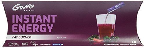 GoMo ENERGY zuckerfreies thermogenes Getränk| L-Carnitin +Acai Pulver + Grüntee und Chili Extrakt + Koffein regen den Stoffwechsel und die Fettverbrennung an| Fat Burner 10 Einzelportionen (10 x 5.3g)