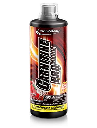 IronMaxx Carnitin Pro Liquid, Erdbeere – Erfrischendes Sportgetränk mit Carnitin & Vitamin C zur Unterstützung beim Abnehmen in der Diätphase – 1er Pack (1 x 1 l)