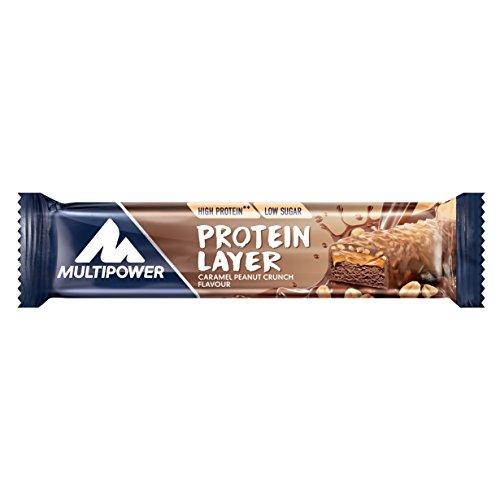 Multipower Power Layer Bar Energieriegel mit 30 % Protein (Whey/Casein) – 18 Fitnessriegel à 50 g – Protein Riegel als Sport-Snack – kalorienarmer & ballastoffreicher Eiweißriegel