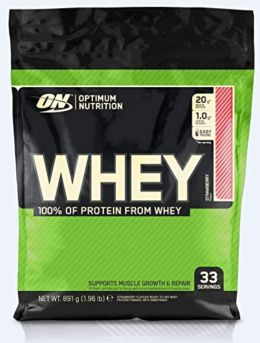 Optimum Nutrition ON Whey Eiweißpulver (Zuckerarmes Protein Shake von ON), Strawberry Eiweiß, 33 Portionen, 0,9kg