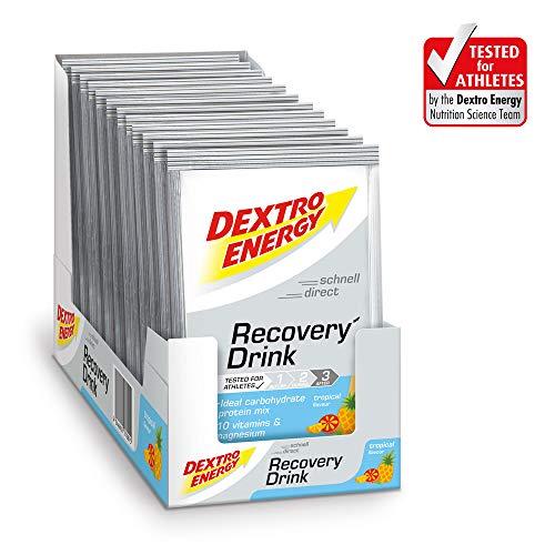 Dextro Energy Recovery Drink | 7 Beutel Getränkepulver Tropical Geschmack | Kohlenhydrate Pulver | 100% glutenfreies Pulver Protein